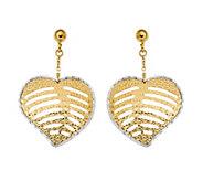 Italian Gold Two-Tone Heart Dangle Earrings, 14K Gold - J385709