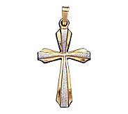 14K Gold Two-tone Cross Pendant - J108210