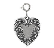 Sterling Victorian-Style Heart Charm - J113510