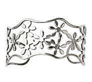 Stainless Steel Cutout Floral Cuff - J312010