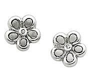 Sterling Diamond Accent Satin Flower Post Earrings - J312810