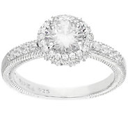 Judith Ripka Sterling 2.40 cttw Round Diamonique Halo Ring - J316210