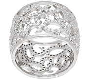Italian Silver Sterling Crystal Scroll Design Band Ring - J321210