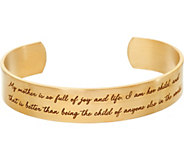 Maya Angelou My Mother Goldtone Cuff Bracelet by Dogeared - J347410