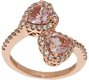 Diamonique and Simulated Morganite Heart Ring 14K Rose Clad - J356210