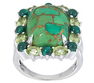 Green Mohave Turquoise and Gemstone Halo Ring, Sterling Silver - J357610