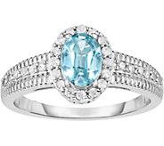 Sterling 1.25 cttw Blue & White Zircon Ring - J376910