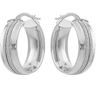 14K Double Glitter-Infused Oval Hoop Earrings