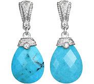 Judith Ripka Sterling Faceted Turquoise & Diamonique Earrings - J377410