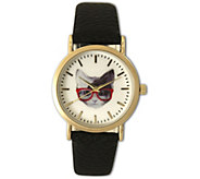 Olivia Pratt Womens Cat in Glasses Leather Watch - J379410