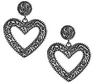 American West Sterling DiamondCut Scroll HeartDangle Earrings - J380310