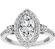 Diamonique 1.85 cttw Marquise Halo Ring, Platinum Plated - J380510