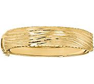 Italian Gold Textured Round Hinged Bangle, 14.6g - J381610
