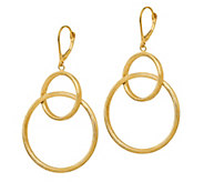 Italian Gold Satin Interlocking Dangle Earrings, 14K - J381810