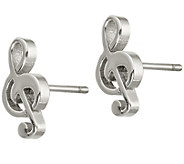 Steel by Design Treble Clef Stud Earrings - J383810