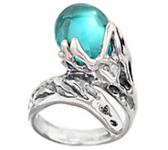 Kalos by Hagit Teal Glass Bead and Sterling Wrap-Design Ring - J340711