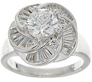 TOVA for Diamonique Round and Baguette Swirl Ring, Sterling - J347311