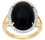 Oval Black Coral & Diamond Ring 14K Gold, 1/5 cttw - J348511