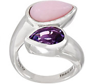 Turquoise or Pink Opal Contrast Bypass Ring, Sterling Silver - J354111