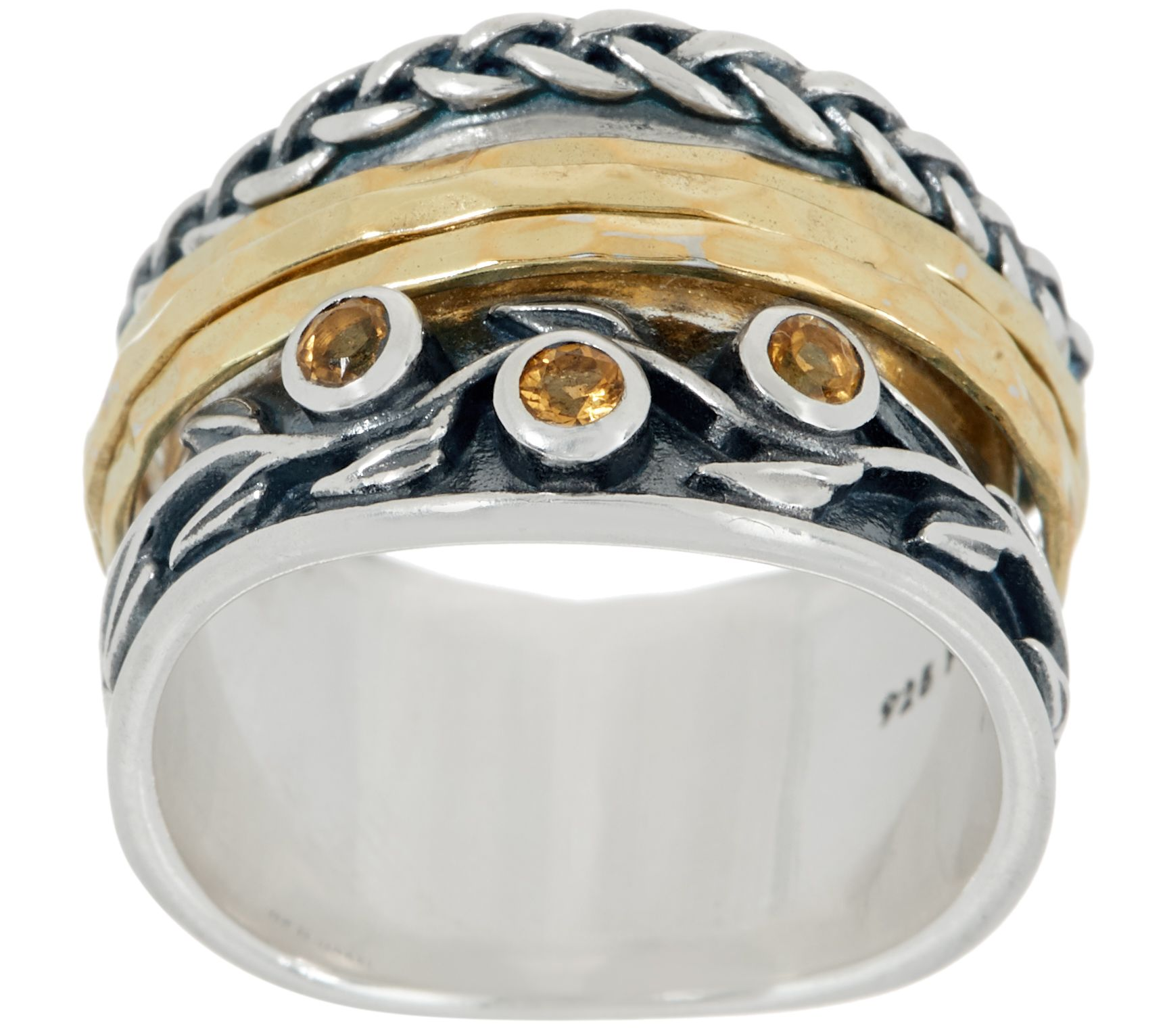 Or Paz Sterling Silver and 14K Plated Gemstone Spinner Ring
