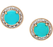 Sleeping Beauty Turquoise and Diamond Stud Earrings, 14K - J355611