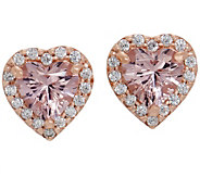 Diamonique and Simulated Morganite Heart Stud Earrings, 14K Rose Clad - J356211
