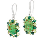 Green Mohave Turquoise and Gemstone Halo Earrings, Sterling Silver - J357611