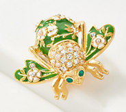 Joan Rivers Crystal and Enamel Apple Blossom Bee Pin - J359211
