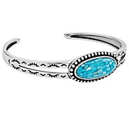 American West Sterling Turquoise Mosaic Cuff - J385211
