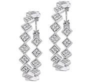 Sterling 1.25 cttw White Sapphire Vintage-StyleHoop Earrings - J385311
