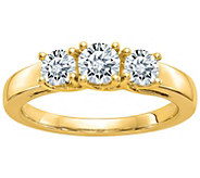 Moissanite 1.00 cttw 3-Stone Ring, 14K Gold - J385911