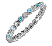Simply Stacks Sterling Blue Topaz & Diamond Stackable Ring - J298712