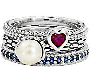 Simply Stacks Sterling Red, White & Blue Ring Set - J310012