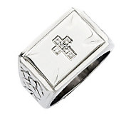 Forza Mens Stainless Steel Diamond Accent Cross Ring - J312912
