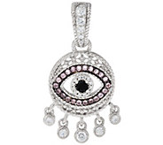 Judith Ripka Sterling Silver Evil Eye Black & Pink Spinel Enhancer - J331112
