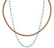 Jodie M. Maya Leather and Rosary Necklace Set - J355012