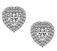 Diamonique 3.80 cttw Heart Halo Earrings, Platinum Clad - J377612