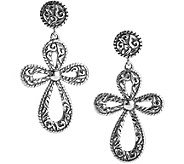 American West Sterling Diamond-Cut Cross DangleEarrings - J380312