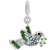Judith Ripka Sterling Silver Multi-Gemstone Bir d Charm - J380912