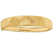 Italian Gold Vertical Textured Round Hinged Bangle 14K, 13.0g - J381612