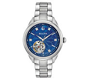 Bulova Ladies Stainless Diamond Accent Automatic Watch - J382612