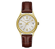 Caravelle Womens Stainless Textured Leather Watch - J383312