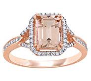 14K 1.55 cttw Morganite & 1/5 cttw Diamond HaloRing - J392312
