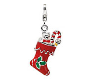 Amore La Vita Sterling Dimensional Red HolidayStocking Charm - J300013
