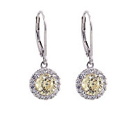 Diamonique & Canary 100-Facet Halo Earrings, Platinum Clad - J304013
