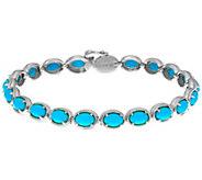 Sleeping Beauty Turquoise Sterling Silver 6-3/4 Tennis Bracelet - J334313