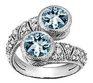 Judith Ripka Sterling Aquamarine & Diamonique Bypass Ring - J340013