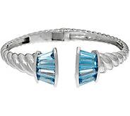Baguette Gemstone Sterling Silver Hinged Cuff 6.50 cttw - J346913