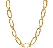 Judith Ripka Verona 18 14K Clad Oval Texture Link Necklace 43.7g - J349213