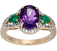 Oval Amethyst & Pear Emerald White Zircon Ring, Sterling 2.00 cttw - J349413